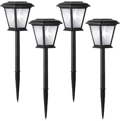 Solar Black LED 3D Star Path Light (4-Pack)