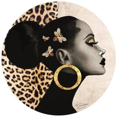 """""""Beautiful Woman"""" Frameless Free Floating Tempered Glass Round Graphic People Wall Art 40 in. x 40 in."""