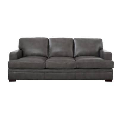 Georgia 95 in. Gray Leather 3-Seater Lawson Sofa with Removable Cushions