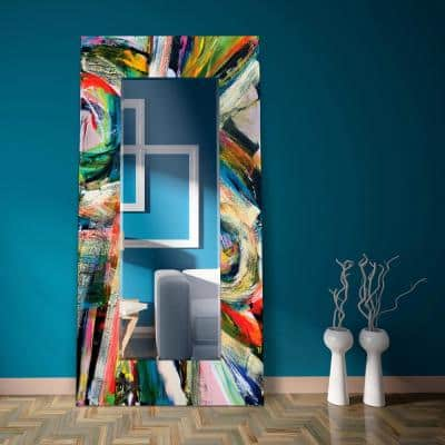 72 in. x 36 in. Rock Start I Rectangle Framed Printed Tempered Art Glass Beveled Accent Mirror