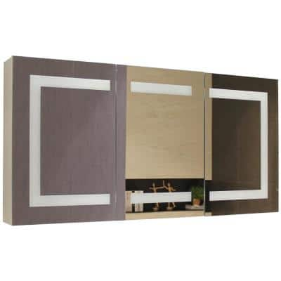 48 in. W x 24 in. H Recessed or Surface-Mount Tri-View Frameless Bathroom Medicine Cabinet with Beveled Mirror