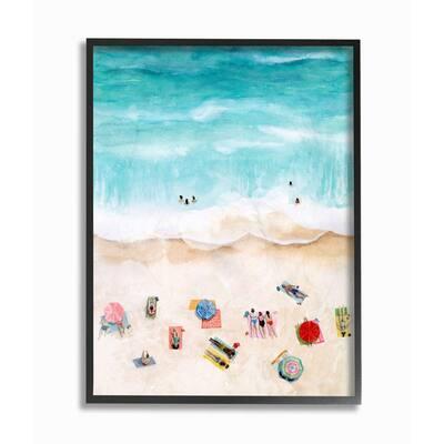 """11 in. x 14 in. """"Beach Family Coast Ocean Blue"""" by Grace Popp Framed Wall Art"""