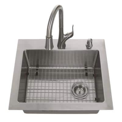 All-in-One Tight Radius Stainless Steel 25 in. 18-Gauge 2-Hole Single Bowl Dual Mount Kitchen Sink with Pull Down Faucet