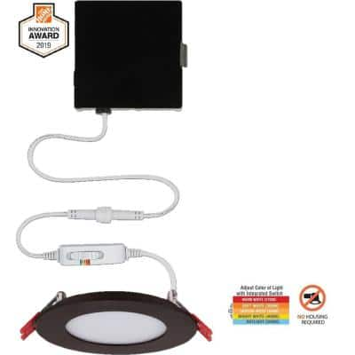 Ultra Slim 4 in. Color Selectable New Construction and Remodel Canless Recessed Integrated LED Kit Oil Rubbed Bronze