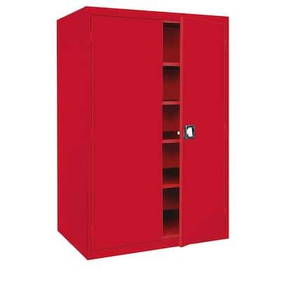 Elite Series Steel Freestanding Garage Cabinet in Red (46 in. W x 72 in. H x 24 in. D)