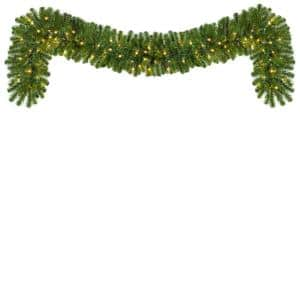 9 ft. Pre-Lit LED Artificial Sequoia Fir Commercial Christmas Garland with 100 Warm White Lights