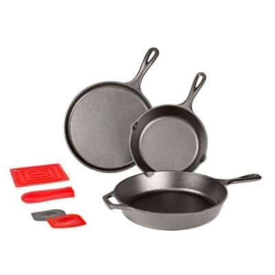 6-Piece Cast Iron Cookware Set in Black