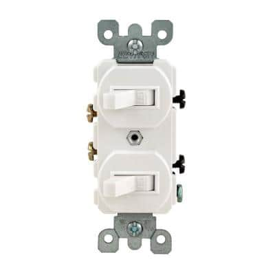 15 Amp Combination Double Switch, White