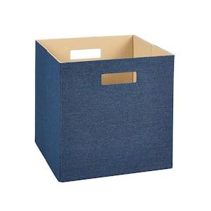 13 in. D x 13 in. H x 13 in. W Blue Fabric Cube Storage Bin
