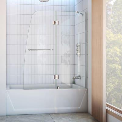 Aqua 48 in. x 58 in. Semi-Frameless Pivot Tub and Shower Door in Chrome
