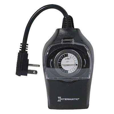 10 Amp 24-Hour Outdoor Plug-In Timer, Black