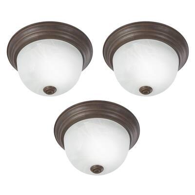 Flush Mount Lighting Series 1-Light Dark Brown Flush Mount with Alabaster Glass Shade