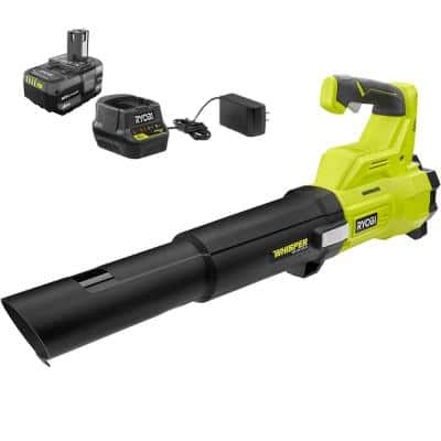 ONE+ 18V Brushless Whisper Series 110 MPH 410 CFM Cordless Battery Jet Fan Leaf Blower with 4.0 Ah Battery and Charger