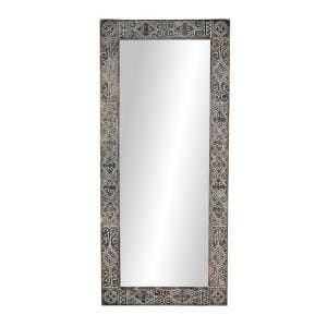 Oversized Rectangle Whitewashed Brown Classic Mirror (71 in. H x 32 in. W)
