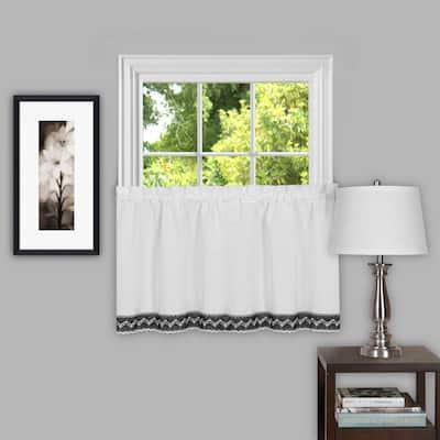 Black/White Rod Pocket Sheer Curtain - 57 in. W x 24 in. L