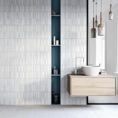 Sassi White 13 in. x 25 in. Glazed Porcelain Decorative Wall Tile (10.76 sq. ft. / case)