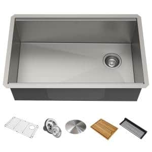 Kore Workstation Undermount Stainless Steel 30 in. Single Bowl Kitchen Sink w/ Integrated Ledge and Accessories