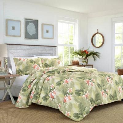 Tropical Orchid 3-Piece Green Floral Cotton Full/Queen Quilt Set
