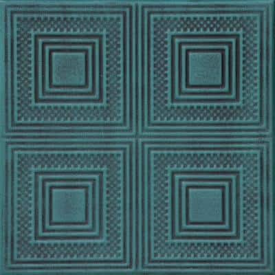 Nested Squares 1.6 ft. x 1.6 ft. Glue Up Foam Ceiling Tile in Antique Green