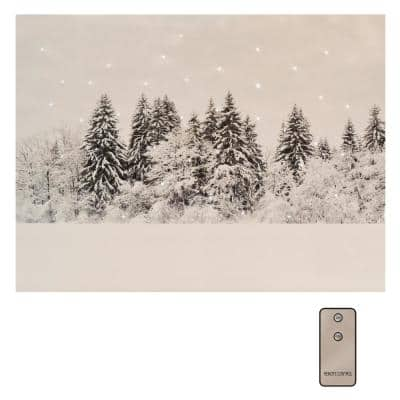 Battery Operated LED Lighted Wall Art - Winter Pines