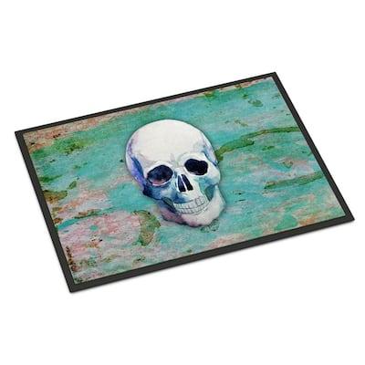24 in. x 36 in. Indoor/Outdoor Day of The Dead Teal Skull Door Mat