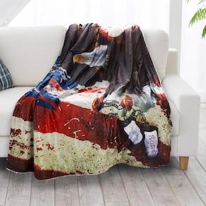 American Flag Bald Eagle Print Sherpa Fleece Blanket