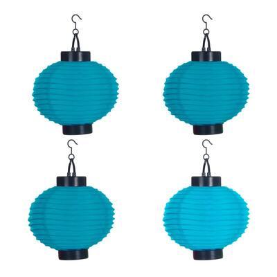 4-Light Blue Outdoor LED Solar Chinese Lantern