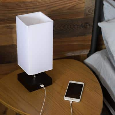 13.5 in. Black Rectangle Table Lamp with USB Port and Wood Base