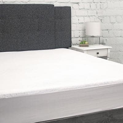 Waterproof Terry Cloth Mattress Protector with Fitted Skirt, Queen