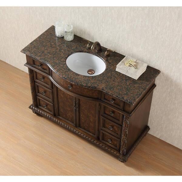 Stufurhome Amelia 48 In Bathroom Vanity With Granite Vanity Top In Baltic Brown With White Under Mount Sink Gm 5116 48 Bb The Home Depot
