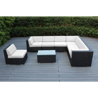 Black 8-Piece Wicker Patio Seating Set with Sunbrella Natural Cushions