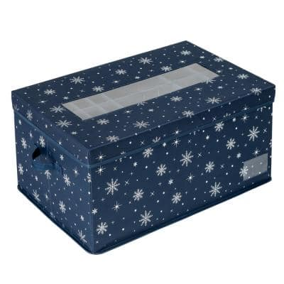 Navy Polyester Deluxe Ornament Storage (72-Count)
