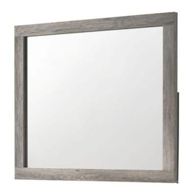 1.4 in. W x 36.8 in. H Framed Rectangle Wooden Bathroom Vanity Mirror with Grains in Gray and Silver