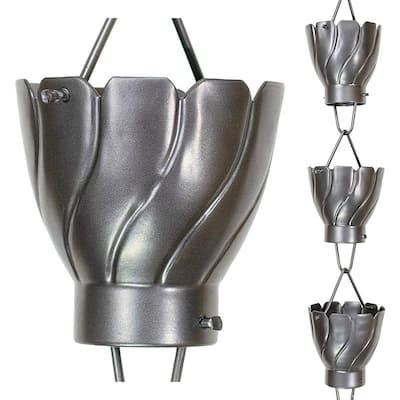 8-1/2 ft. L Pewter Aluminum Akira Rain Chain