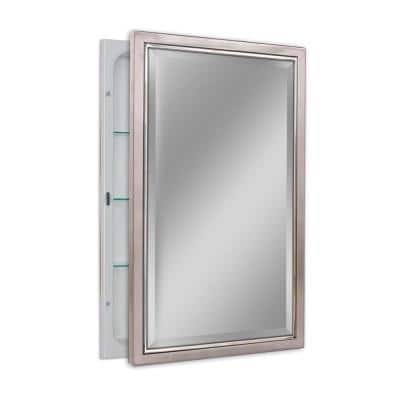 16 in. W x 26 in. H x 5 in. D Classic Framed Single Door Recessed Bathroom Medicine Cabinet in Brush Nickel and Chrome