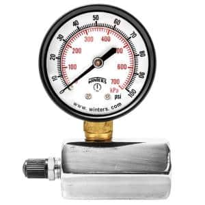 PETG Series 2 in. Gas Test Pressure Gauge with Test Valve Adapts to 3/4 in. FNPT and Range of 0-100 psi/kPa
