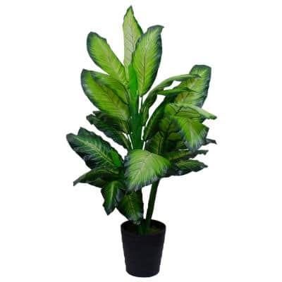 50 in. Artificial Wide Leaf Green Dieffenbachia Potted Plant