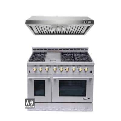Entree Bundle 48 in. 7.2 cu. ft. Pro-Style Duel Fuel Range Convection Oven and Range Hood in Stainless Steel and Gold