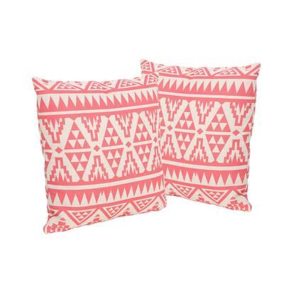Caroline Pink Square Outdoor Throw Pillows (Set of 2)