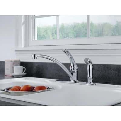 Foundations Single-Handle Standard Kitchen Faucet with Side Sprayer in Chrome