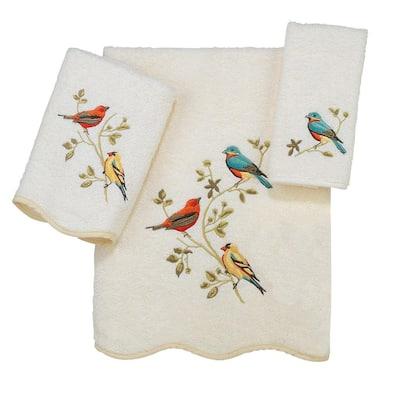 3-Piece Ivory Premier Songbirds Cotton Towel Set