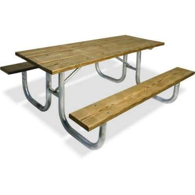 8 ft. Pressure Treated Wood Commercial Park Extra Heavy Duty Portable Table