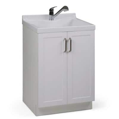 Allister 24 in. x 20.5 in. x 39.6 in. MDF Laundry Cabinet with Pull-Out Faucet and Undermount ABS Sink