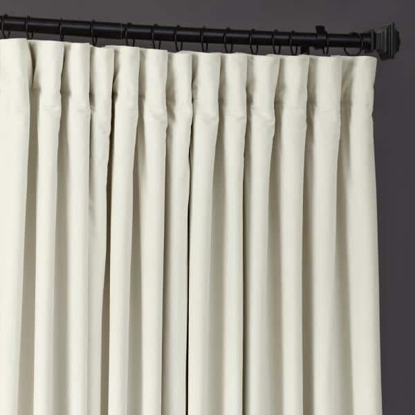 Exclusive Fabrics Furnishings Off White Velvet Rod Pocket Blackout Curtain 100 In W X 84 In L Vpch Vet1219 84 The Home Depot