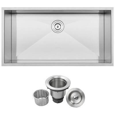 Pacific Zero Radius Undermount 16-Gauge Stainless Steel 36 in. Single Basin Kitchen Sink with Basket Strainer