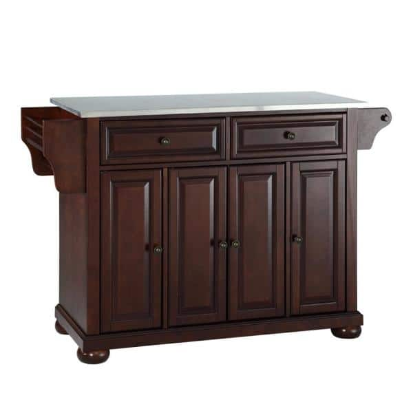 Crosley Furniture Alexandria Mahogany Kitchen Island With Stainless Steel Top Kf30002ama The Home Depot