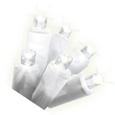50-Light Warm White Micro Mini Flex-Shape LED Light String, White Wire