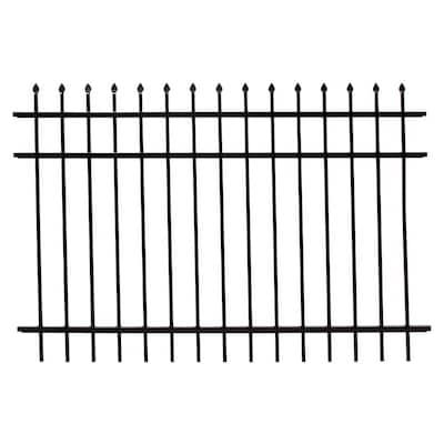 4 ft. H x 6 ft. W Athens Pressed Spear Design Gloss Black Aluminum Fence Panel