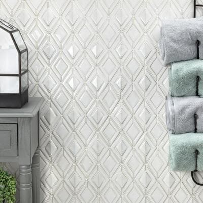 Delphi Jewel Natural White 12 in. x 16 in. Polished Ceramic Mosaic Tile (1.19 sq. ft./Sheet)
