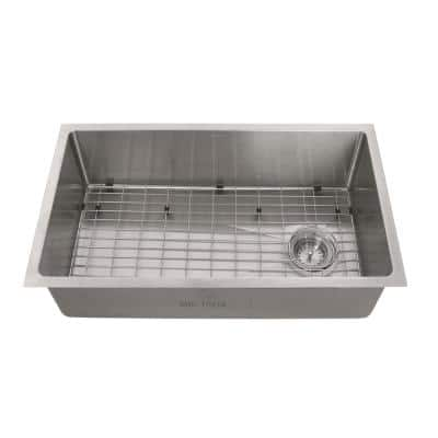 Tight Radius Stainless Steel 31 in. 18-Gauge Single Bowl Undermount Kitchen Sink with Grid and Strainer